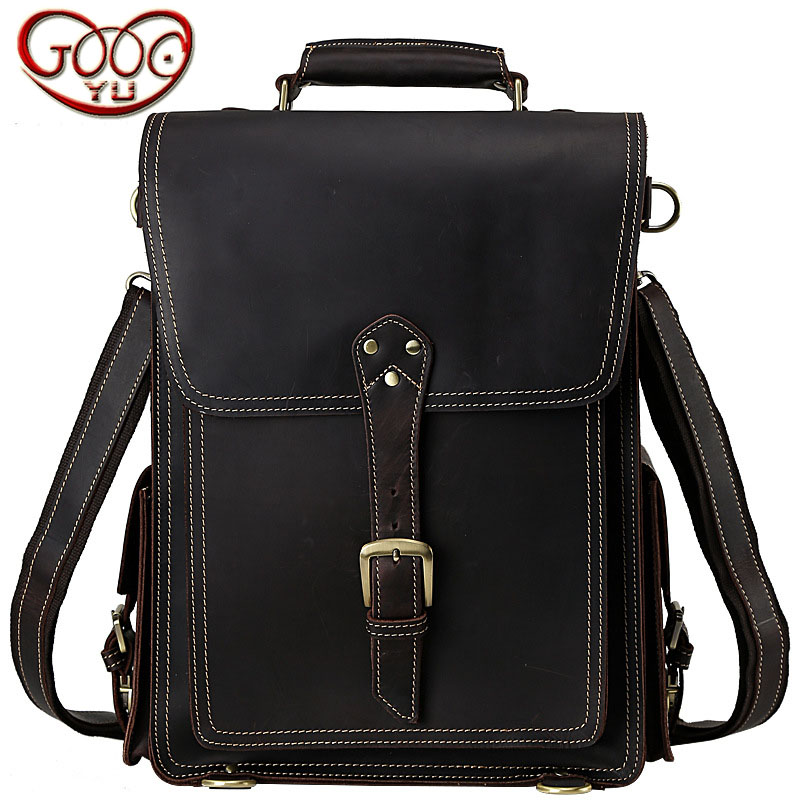Retro crazy horse leather travel bag first layer of leather casual men leather shoulder Messenger dual-use large backpack 2016men s batik casual casual shoulder bag crazy horse leather backpack travel bags waterproof trend retro canvas bag 62259
