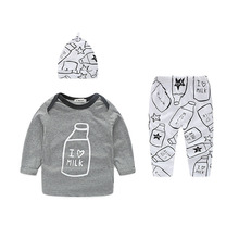 Roupa Infantil Menino Spring Long Sleeve Baby Boy Clothing Set Underwear Cotton Babies Clothes Fashion Three Piece Baby Outfit