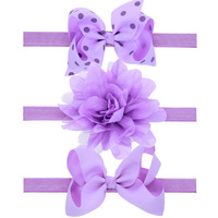3pcs/ set with Box Kids Ribbon Polka Dot Bows & Chiffon Flower Headband Elastic Hair band Headwear Girls Hair Accessory For Gift