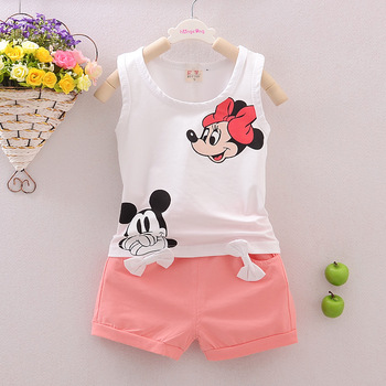 Mickey&Minnie Printed Pattern Kids Clothes Summer Tops 2018 Casual Children Clothing Set T Shirts + Shorts For Girls Bloomers 4Y conjuntos casuales para niñas