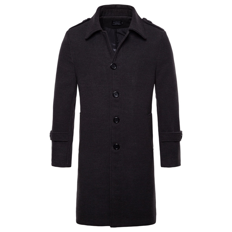 long wool trench coat dark grey