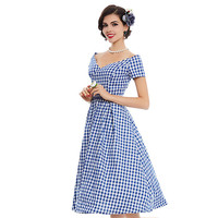 Hot A Line V Neck Summer Rock Abilly Short Sleeve Women Party Plaid Dress 2017Vintage Dress