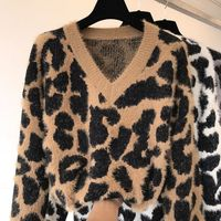 fashion women leopard knitted sweater deep v neck long sleeve jumper oversized loose style mohair knitted pullover sweaters