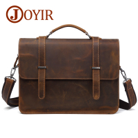 JOYIR Genuine Leather Briefcase Men Messenger Bag Laptop Bag Crzay Horse Leather Computer Office Shoulder Bag Men's Bag Handbag