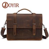 JOYIR Genuine Leather Briefcase Men Messenger Bag Laptop Bag Crzay Horse Leather Computer Office Shoulder Bag Men's Bag Handbag