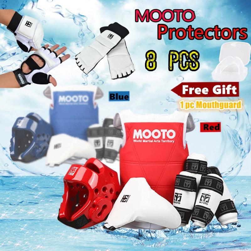 8pcs MOOTO Quality Taekwondo Protectors full suite chest guards Child adult Forearm shin protector groin guard Taekwondo helmet