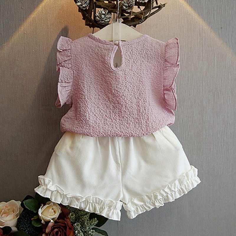 2ピース子供ファッション真珠ノースリーブシフォンブラウス+ショーツ夏子供服セット