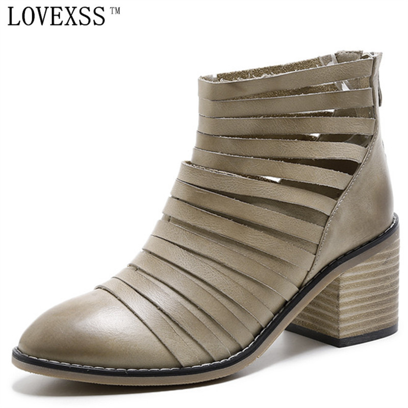 LOVEXSS Rome Ankle Boots Genuine Leather Black Brown Pointed Toe Woman Shoes 2017 Spring Autumn Martens Boots High Heels Hollow brown men ankle boots spring autumn genuine leather cowboy boots pointed toe lace up mens military boots safety shoes footwear