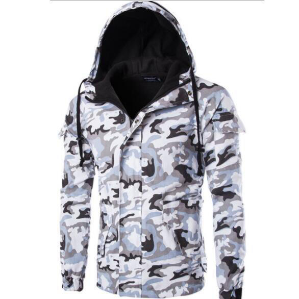Men's Casual Camouflage Hooded Windproof mens outerwear jackets Jacket fashion man Coat