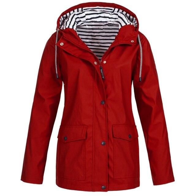 Women Windbreaker Solid Rain Jacket Outdoor Plus Waterproof Hooded Raincoat Windproof Jackets For Women Plus Size -