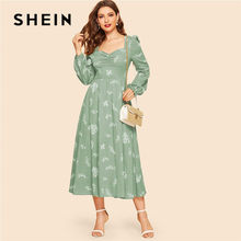 f27e74582c SHEIN Green Vintage Ruched Front Lantern Sleeve Floral Dress Women Spring  Elegant Long Sleeve High Waist A Line Maxi Dress-in Dresses from Women's  Clothing ...