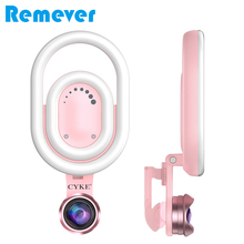 цена на Live Stream Selfie Light With Wide Angle Lens Rechargeable LED Ring Light for iPhone X/8/7 Plus Xiaomi Huawei Smartphone Tablet