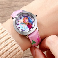 Original Disney Frozen Elsa Anna Sofia Princess Girl Leather Cartoon Children Watch Kids Lovely Gift For Student Clock FZ 54171