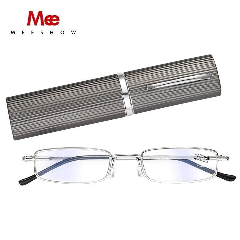 31b71f57cc 2018 Pen reading glasses metal computer Lens Anti Blue-ray reader pocket  Slim Reading glasses