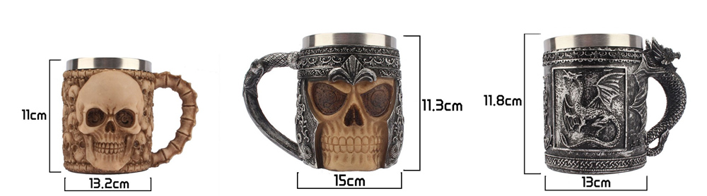 Retro Dragon Resin Stainless Steel Beer Mug Skull Knight Tankard Halloween Coffee Cup Creative Viking Tea Mug Pub Bar Decoration