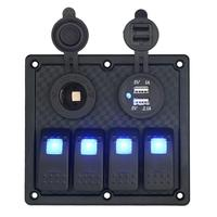 Waterproof Auto ATV Marine Boat 4 Gang Circuit Blue LED Rocker Panel Switch Wonderful4 27 30