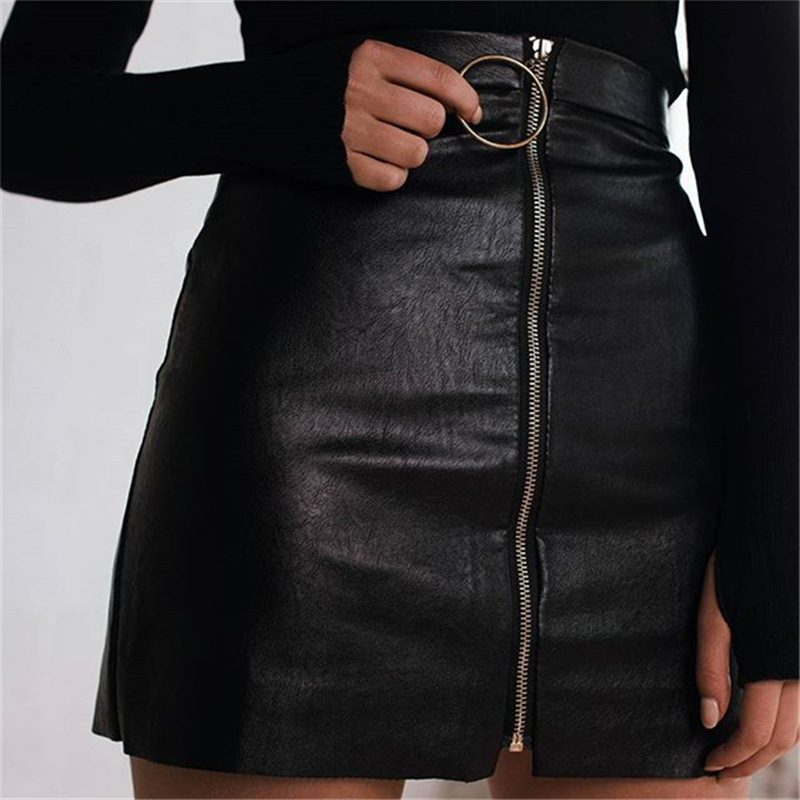 discount for sale the best attitude later Leather Skirt High Waist Zipper Front Pull Ring Mini Pencil ...
