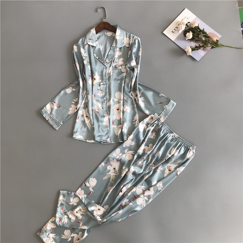 2019 Newest Women   Pajamas     Sets   with Pants Satin Sleepwear Flower Print Sexy Silk Pijama Long Sleeve Fashion Nightsuits Pyjama