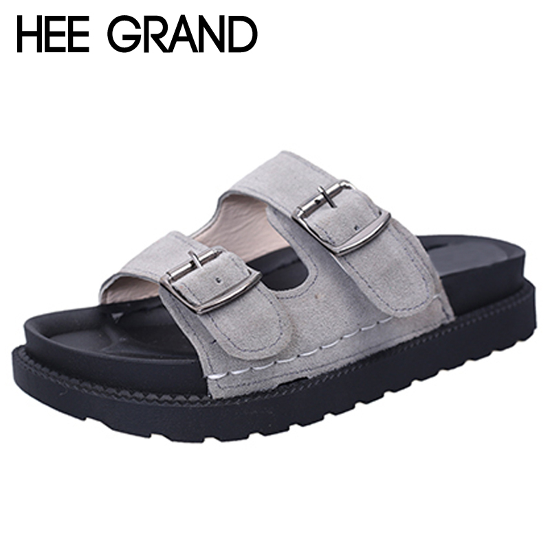HEE GRAND 2017 New Slippers Summer Platform Flats Shoes Woman Slip On Slides Leisure Creepers Women Shoes Size 35-40 XWZ4296 phyanic 2017 gladiator sandals gold silver shoes woman summer platform wedges glitters creepers casual women shoes phy3323