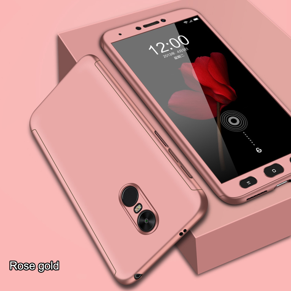 360 Degree Case For Xiaomi Redmi Note 5 Pro 4X 4A Case Full Cover With Tempered Glass Cover For Redmi 6 5A 6A Plus Cases