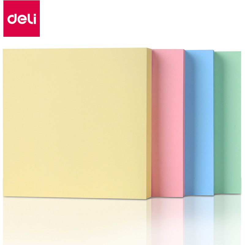 Deli 7151 Memo Pads 400 Sheets  Self-Adhesive Note Decoration Memo Pads 76mm*76mm Message Paper Stickers Memo Paper deli 100 sheets 9085 self adhesive memo pads sticker paper note decoration school