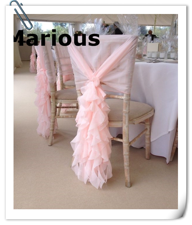 ruffle chair sashes stadium company marious 50 pcs pink chiffon sash ruffled hood 60 150 many colors free shipping factory price in from home garden on