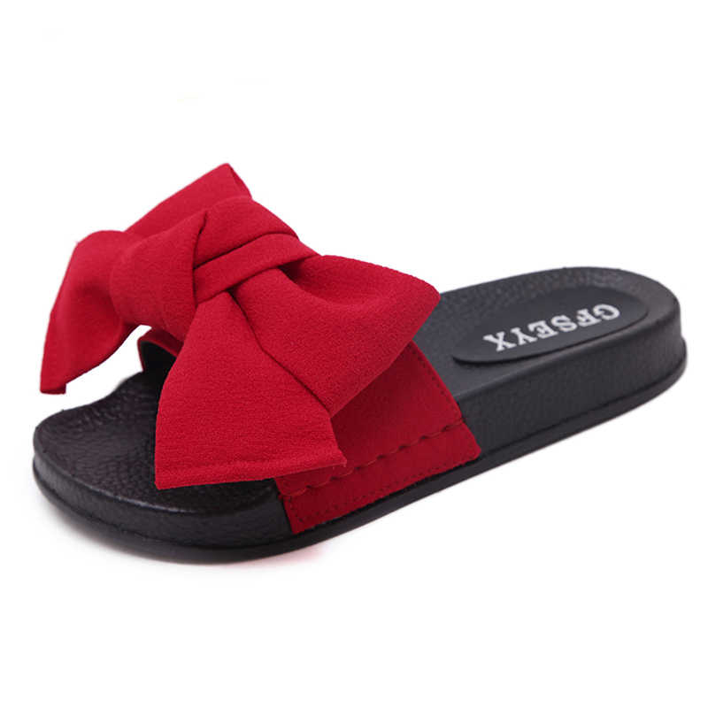 d602b90362f Bow Slides Women Summer Bowknot Beach Shoes Woman Female Slippers ...