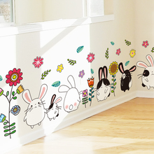 Cartoon Fat Rabbits Wall Stickers PVC Material DIY Animal Wall Decor for Baby Bedroom Kids Rooms Decoration