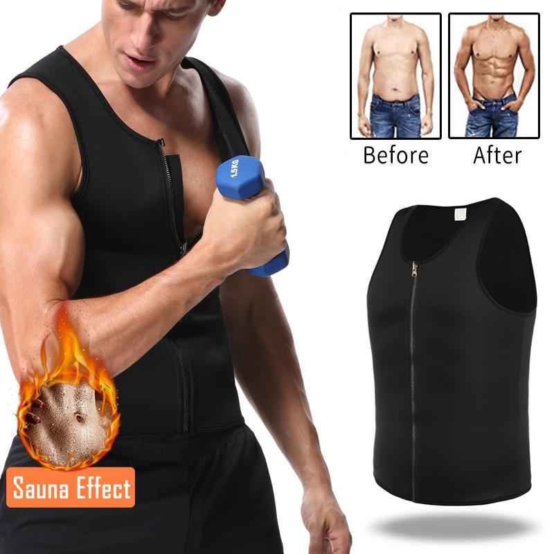 Men Fat Burn Waist Trainer Body Shaper T-Shirt Neoprene Workout Slimming Vest ll