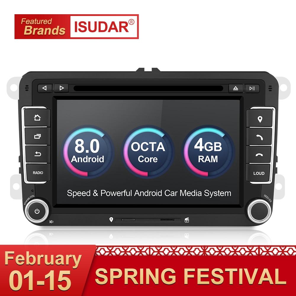 Isudar coche reproductor Multimedia 2 Din Car Radio GPS Android 8,0 Autoradio para VW/Volkswagen/POLO/Golf /Skoda/Octavia/asiento/Leon DSP