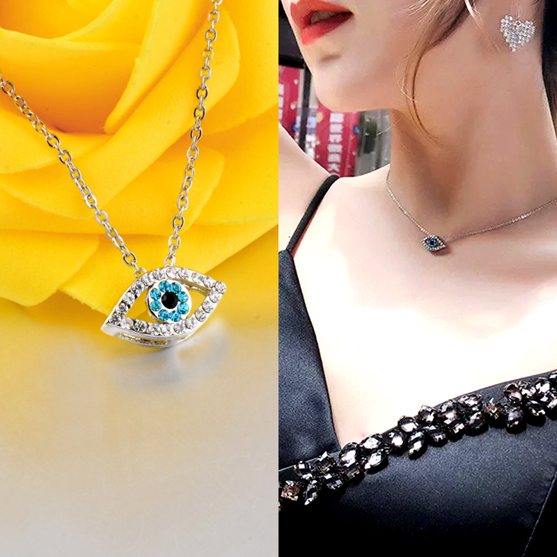 SINLEERY Fashion Charm Luck Turkey Blue Evil Blue Blue Eye Rhinestone Eye Choker Necklace For Women Gratë e Bardhë Ngjyrë XL656 SSC