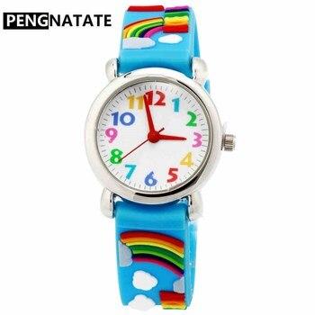 PENGNATATE модные детские часы для девочек, Радужный маленький браслет, кварцевые наручные часы, силиконовый ремешок для часов, детские часы, под...