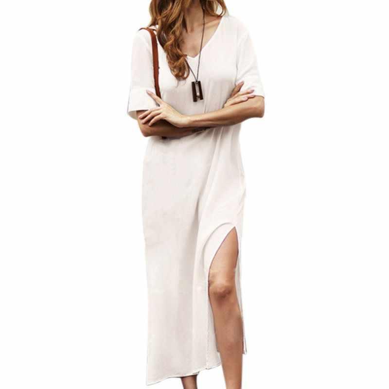 18a7dfd104f ... Summer Maxi Dress Short Sleeve Casual Mini T-shirt Dress Cotton and  Linen V- ...