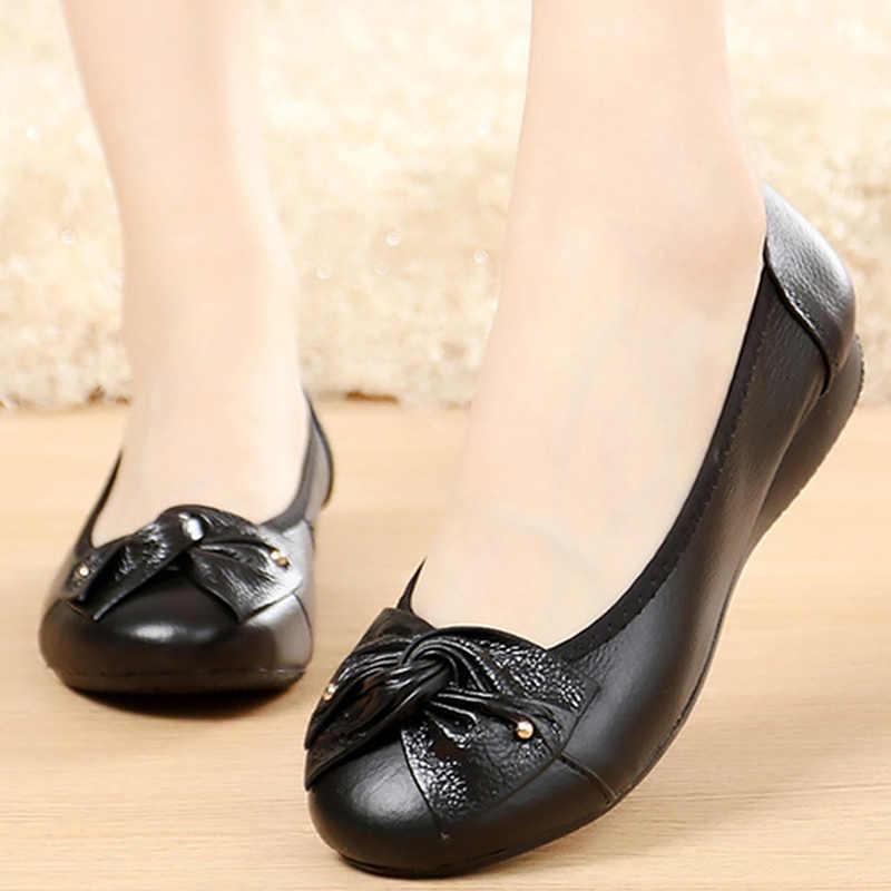 Zapatos planos de talla grande 41/42/43 para mujer zapatos casuales con nudo de mariposa de cuero genuino para mujer zapatos de mujer