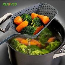 RLJLIVES 1 шт. черные кулинарные лопаты сито для овощей Совок нейлоновая ложка большой дуршлаг фильтр для супа кухонные инструменты