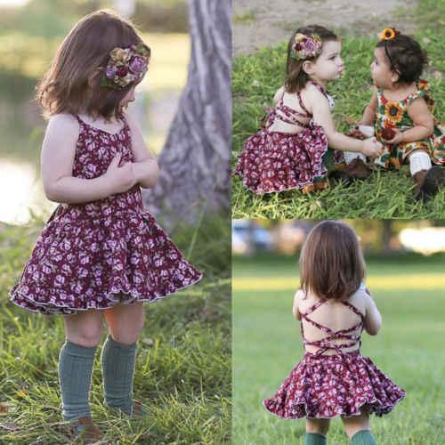 2018 Yeni Varış Mor çiçekli elbiseler Çocuk Kız Kolsuz Prenses Elbise Bebek Çocuk Yaz Strappy Parti Pageant Sundress