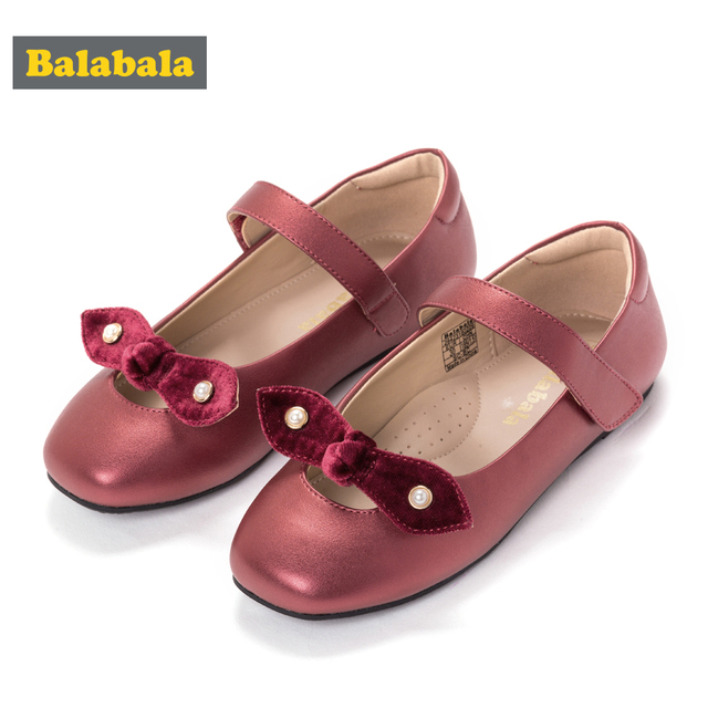 Balabala 2018 autumn Baby Toddler Girl Shoes Solid Colors Small Bowtie Dancing Shoes Size 25-32 Girls Princess Dress Shoes