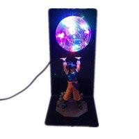DROPSHIPPIN Fancy Design Dragon Ball Z Figure Toy Son Goku Genki dama Spirit Bomb Effect DIY LED Colorful Flash Light lamp Set