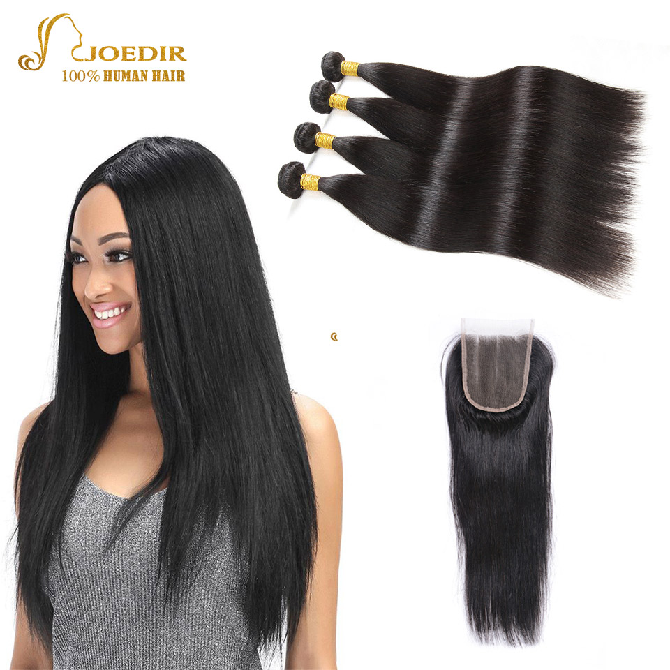 Joedir Peruvian Hair Bundles with Closure Straight Hair Extension with ClosureNatural Color Human hair bundles with Lace Closure
