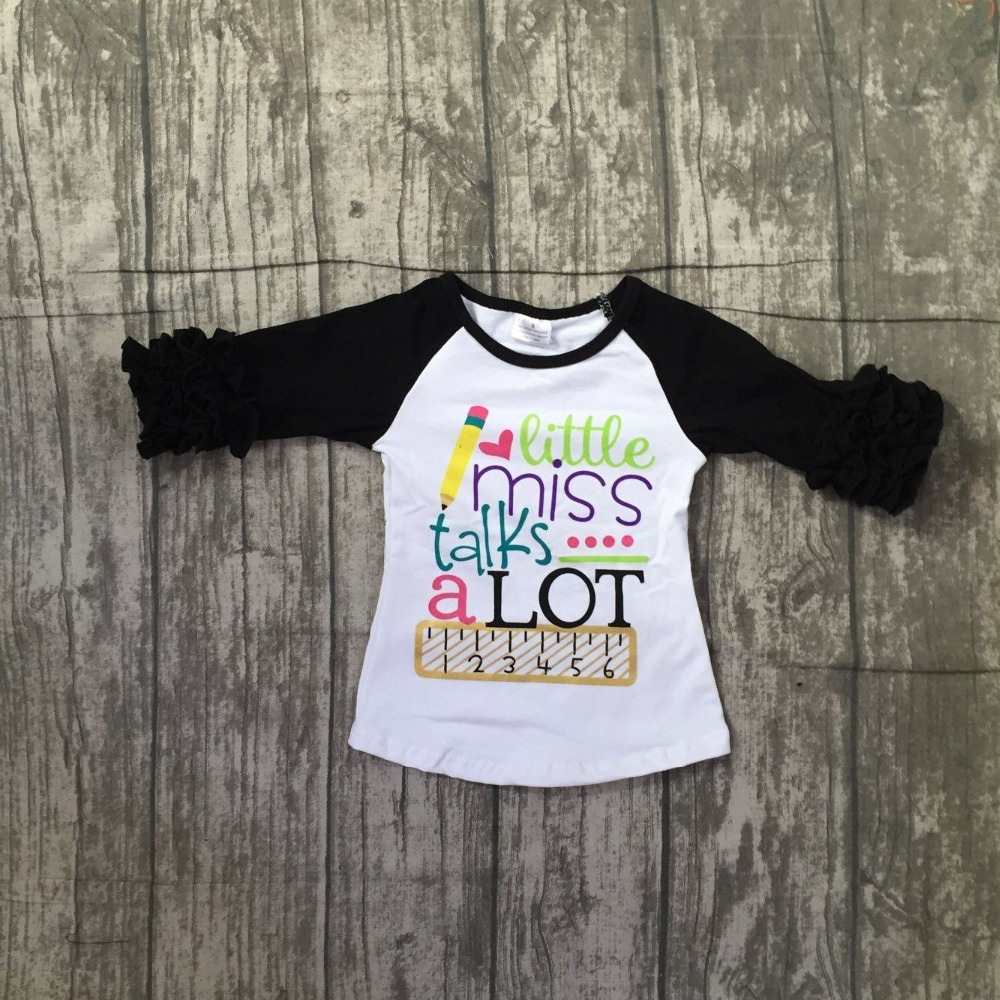 baby girls three quarter icing boutique little miss talk a lot white black top shirts pencil Ruler clothes back to school cotton