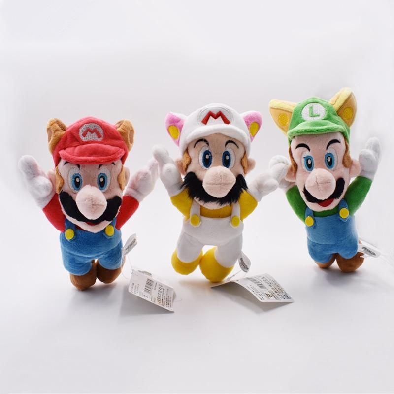 2018 New Super Mario Bros Fly Raccoon Mario Tanooki Rabbit Fox Kitsune Luigi Flying Stuffed Plush Doll Kids Christmas Gift 20cm 1