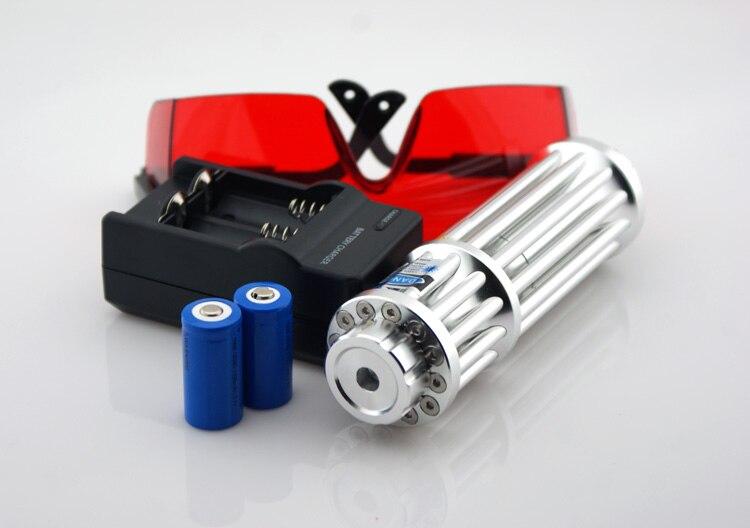 Haute Puissance Militaire laser bleu pointeurs 100000 m 100 w 450nm Combustion Correspondance/bois sec/bougie/noir/ brûler cigarettes + Lunettes + coffret cadeau