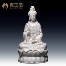 цена на Dai Yutang ceramic sculpture Master Chen Mingliang/Guan Yin statue, sits the ancient Lotus ornament D43-30
