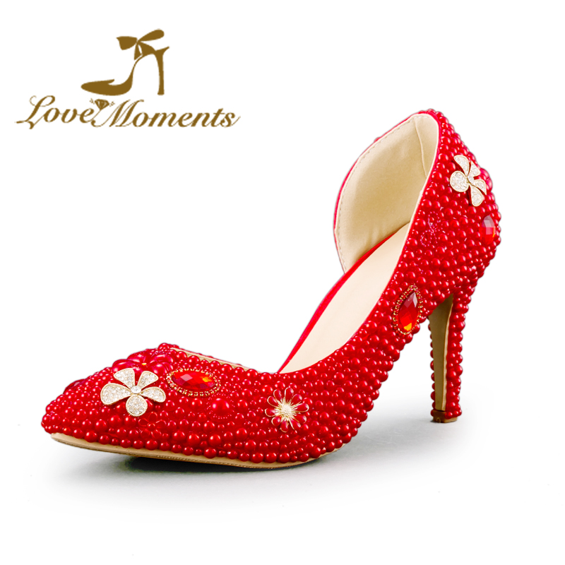 Sexy Thin High Heel Pumps woman wedding shoes party dress shoes Delicate handmade pearls crystal Ladies Pointed Toe shoes low heel 3cm heel ivory lace wedding shoes woman sweet pearls handmade pearls brides small heel wedding shoes lady party pumps
