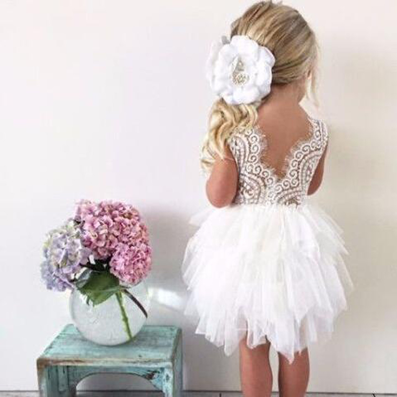Infant Toddler Girls Dress Lace Cake Dresses Children Princess Backless Tutu Party Gown 1st Birthday Vestido Summer Clothes 1-6Y princess girls summer dress 2017 floral lace tutu party dresses sleeve ball gown baby girl vestido kids children clothes 0 3y