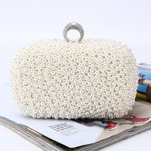 ONEFULL  NEW HIGH QUALITY Pearl Dinner clutch female lady pure hand embroidered handbag brand evening party