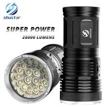 Poderosa lanterna led com 18 x t6 led lâmpada grânulo à prova dbead água holofote ampla gama uso 4x18650 bateria de iluminação
