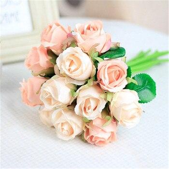 Cores 8 19/pcs 12 9 pçs/set 25x16 cm Rosa Artificial Flores De Casamento Da Noiva Buquê de Flores De Seda DIY Home Decor Rose Flores