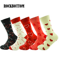 ROCKBOTTOM New Mens Socks Colorful Harajuku Cartoon Love Gift Long Sock Middle Calf Novelty Business Socks