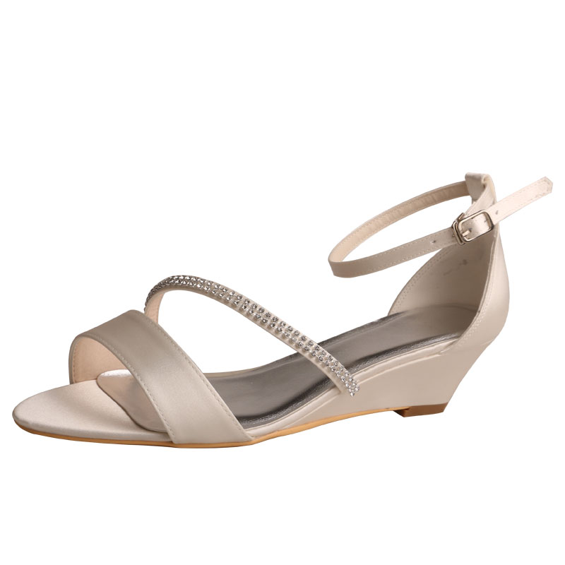 Ivory Satin High heel shoes with black diamantes